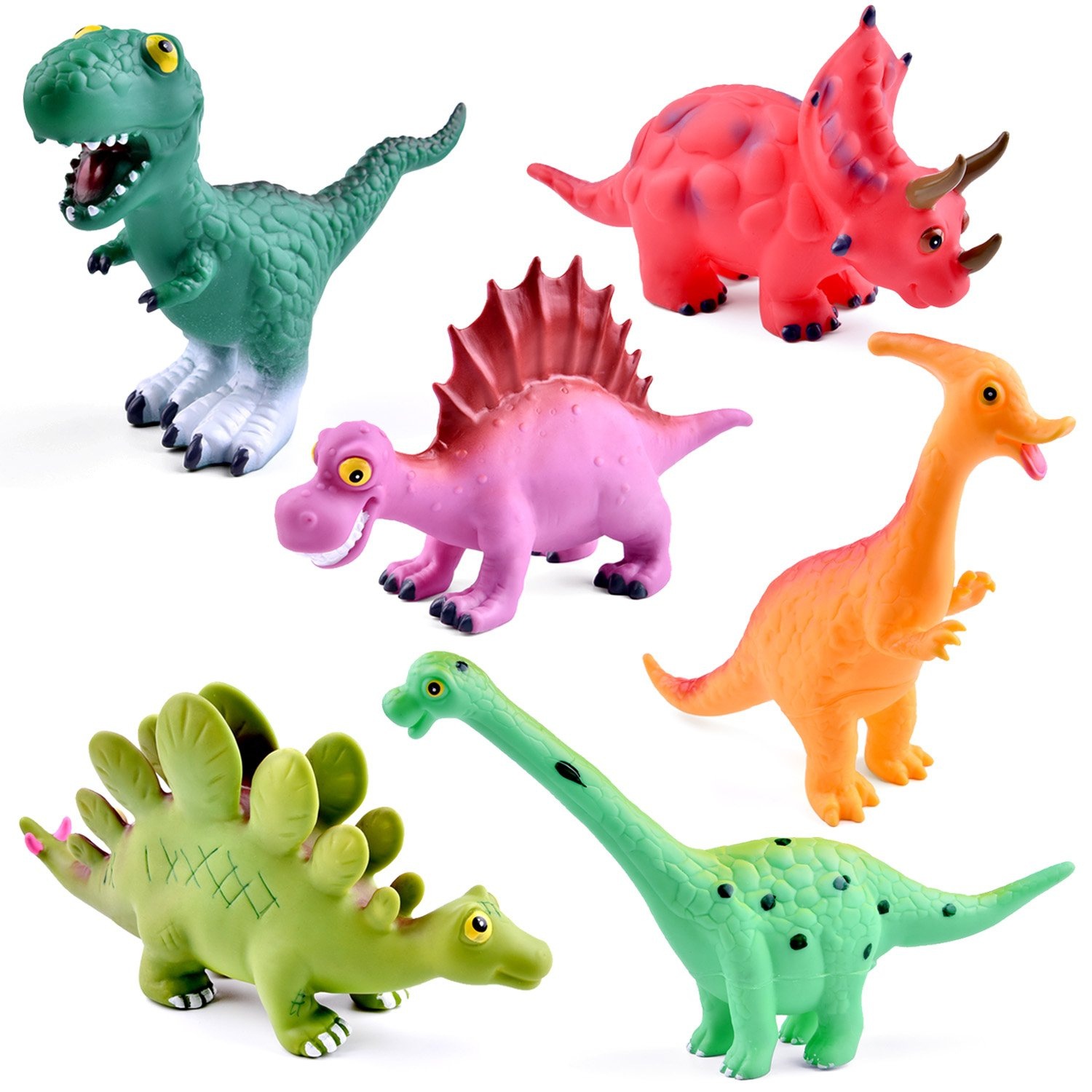 FUN LITTLE TOYS 9 Inches to 12 Inches Dinosaur Baby Bath Toys, 6 Pack Dinosaur Figures Playset, Water Squirt Toys, Perfect as Bathtub Toys, Dinosaur Party Supply, Party Favors, Toddler Birthday Gifts