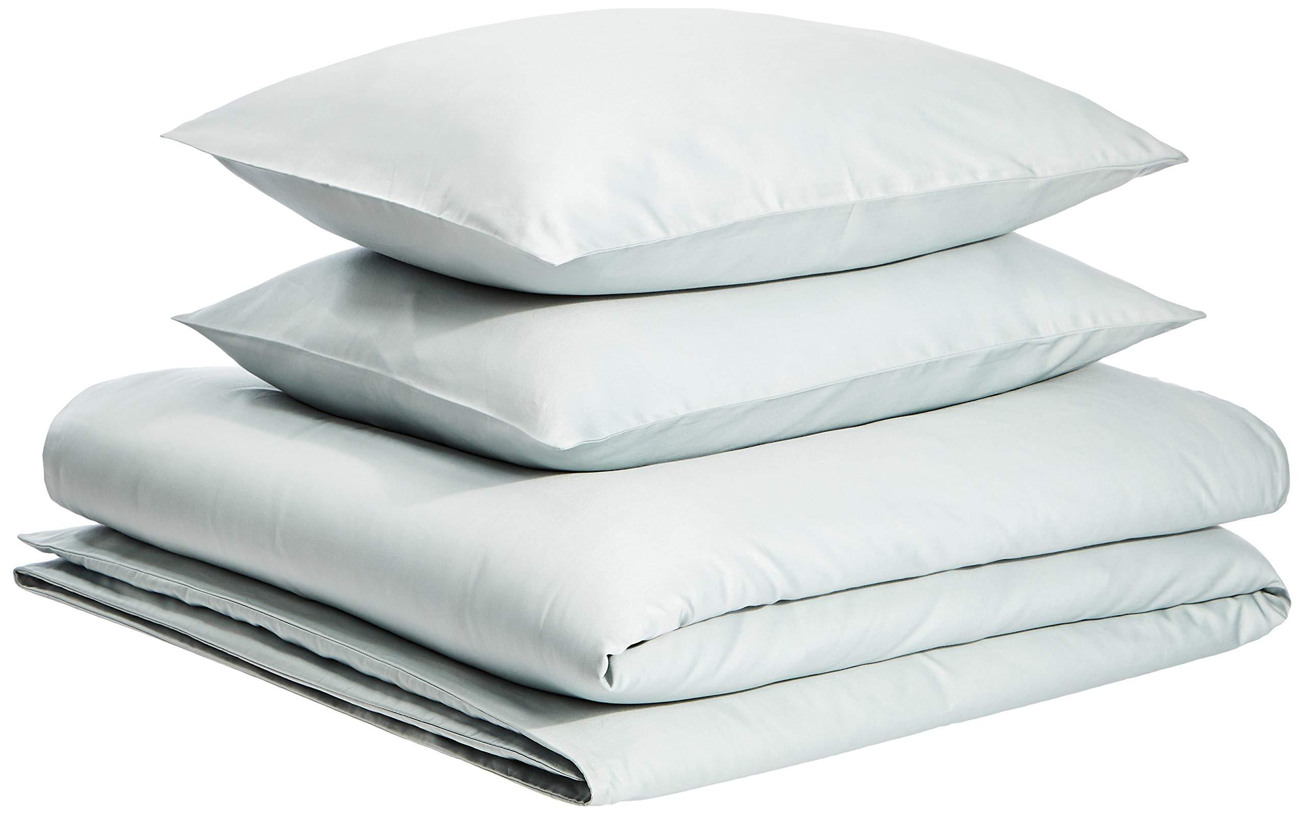AmazonBasics Organic Sateen Cotton Duvet Comforter Cover Set, King, Sage Green