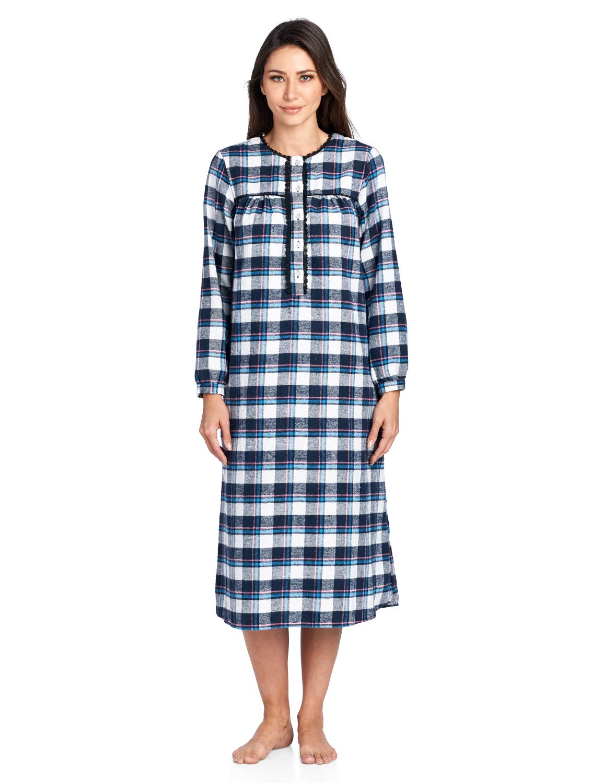 Ashford & Brooks Women's Flannel Plaid Long Sleeve Nightgown Sleepwear