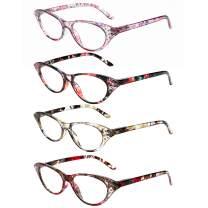 WANWAN Women Cat Eye Reading Glasses 4 Pack Fashion Frame Quality Readers