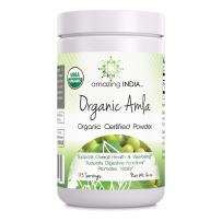 Amazing India USDA Certified Organic Amla Powder (Non-GMO) 16 oz Raw, Vegan- Gluten-Free Rich source of Vitamin C- Supports Immune System- Promotes Skin Health- Glucose Metabolism - Natural Laxative