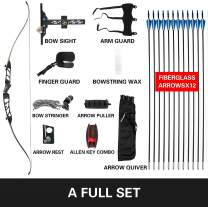 Bkisy Recurve Bow Set 18 20 24 28 30 32 36 38lbs Archery Bow Aluminum Alloy Takedown Recurve Bow Right Hand Bow with 12 Arrows for Adults Youth Hunting Shooting Practice Competition