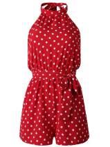 Spmor Women's Sleeveless V Neck Tie Waist Short Romper Jumpsuit