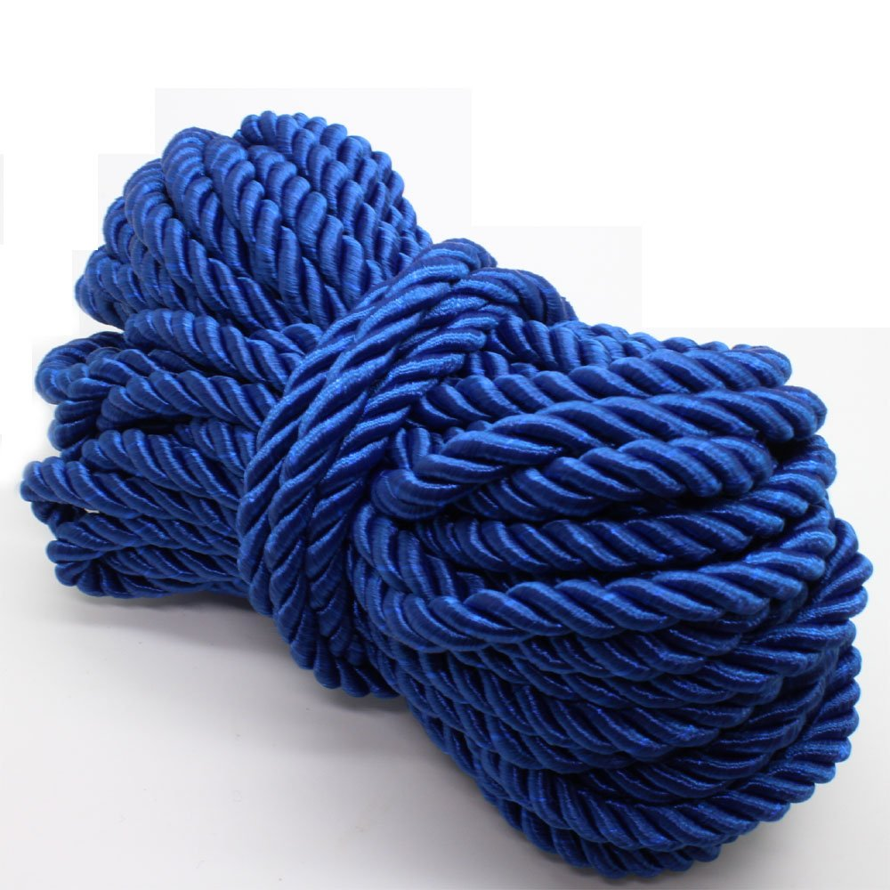 U Pick 10yds 5mm Decorative Twisted Satin Polyester Twine Cord Rope String Thread Shiny Cord Choker Thread (08:Royal Blue)