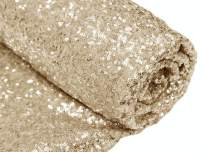 3 Feet 1 Yards Light Gold Sequin Fabric, by The Yard, Sequin Fabric, Tablecloth, Linen, Sequin Tablecloth, Table Runner (Light Gold)