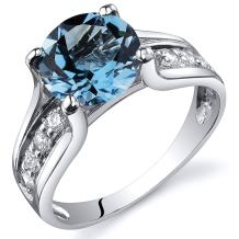 Peora Swiss Blue Topaz Cathedral Ring in Sterling Silver, 2.25 Carats total, Solitaire Round Shape, 8mm, Sizes 5-9