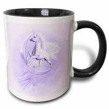 3dRose 181731_4 A Purple Flying Pegasus With A Moon And Clouds In The Background Ceramic Mug, 11 oz, Black/White