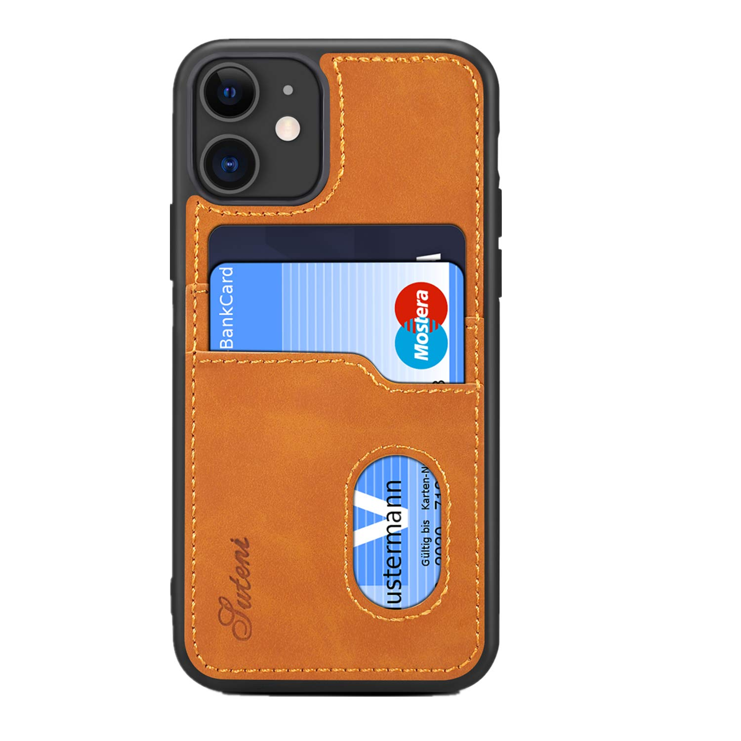 SUTENI iPhone 11 Wallet Case, iPhone 11 Wallet Slim Case with Credit Card Holder, PU Leather Shockproof Wallet Case for iPhone 11 (2019) 6.1 inch (Brown)