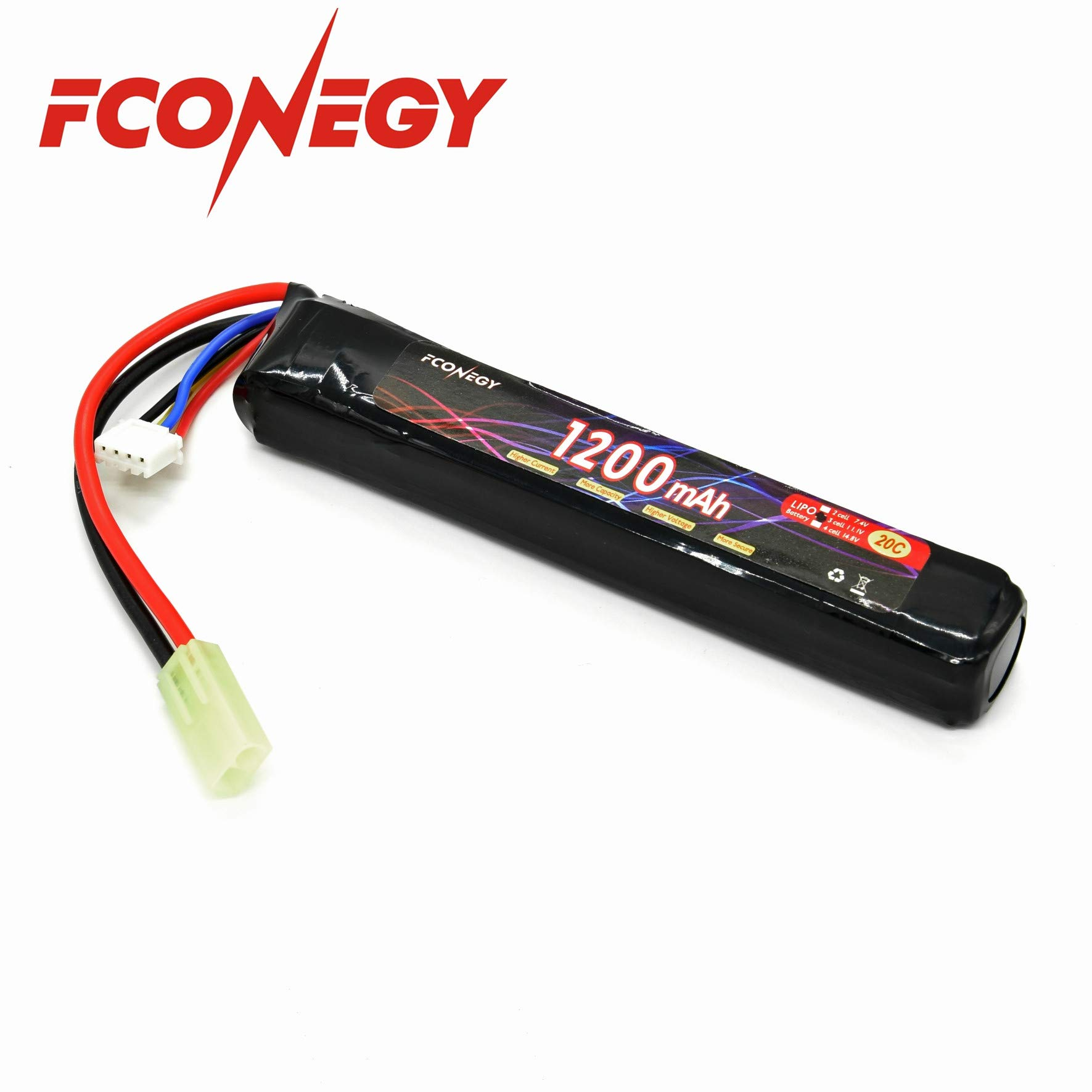 FCONEGY Lipo Battery 3S 11.1V 1200mAh 20C Triple Pack with Small Tamiya Plug for Airsoft Gun/Rifle