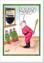 12 'Ken Dolls' Boxed Christmas Cards with Envelopes (4.75 x 6.625 Inch), Silly Santa and Funny Elves Holiday Notes, Humorous Santa's Workshop Christmas Notes, Adult Humor, Inappropriate Humor B1604