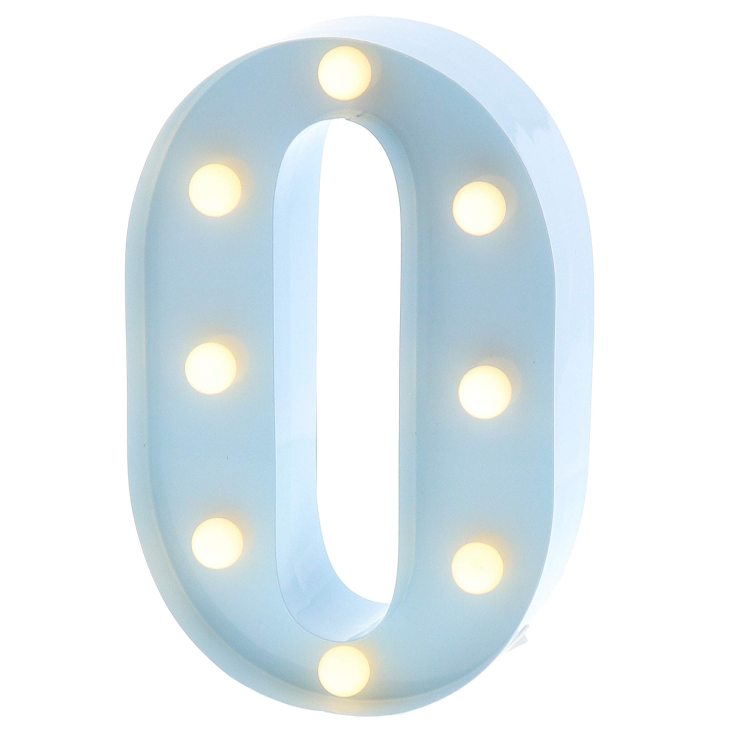 """Barnyard Designs Metal Marquee Letter O Light Up Wall Initial Nursery Letter, Home and Event Decoration 9"""" (Baby Blue)"""