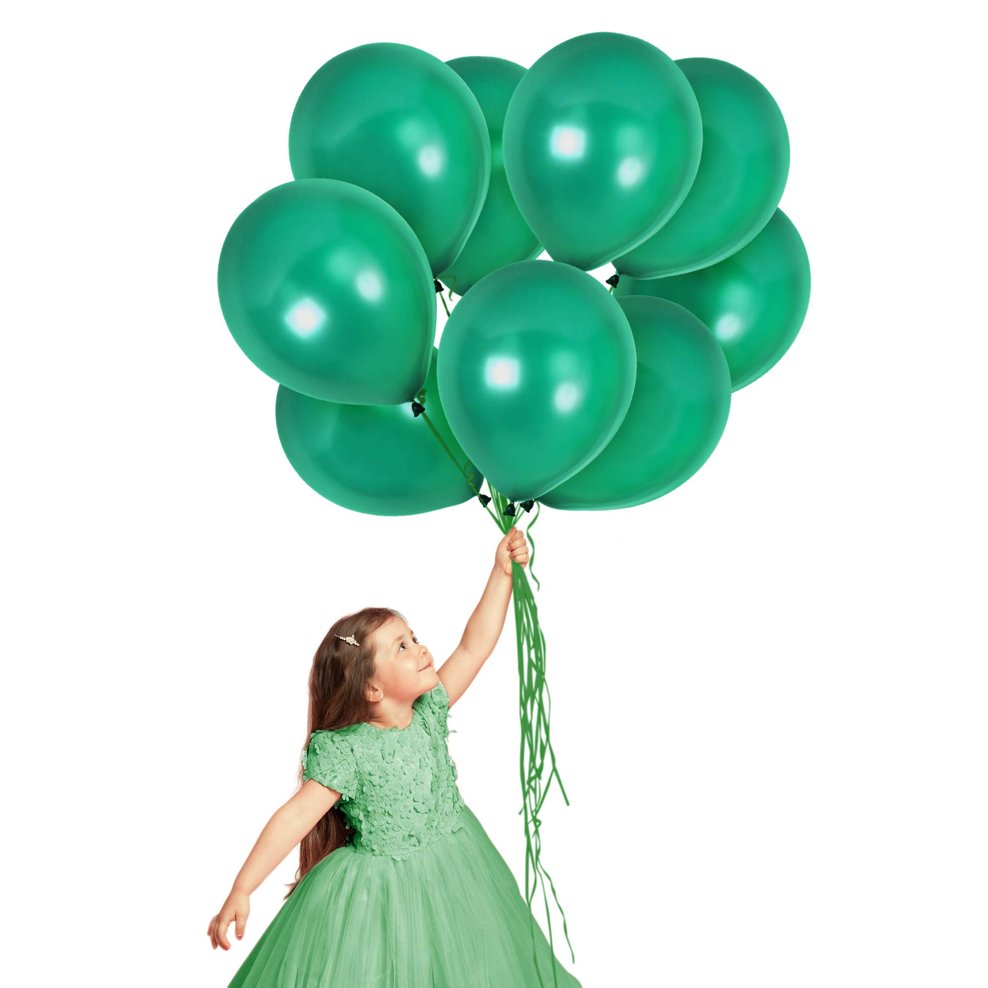 Mardi Gras Decorations 72 Pack Emerald Green Balloons 12 Inch Metallic Latex for Tropical Hawaiian Luau Jungle Party Mermaid Baby Shower Greenery Wedding Arch St. Patrick's Party Supplies