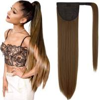 Clip in Ponytail Extension Wrap Around Straight Hair Ponytail Extensions for Women (28 inch, Light Chestnut Brown)
