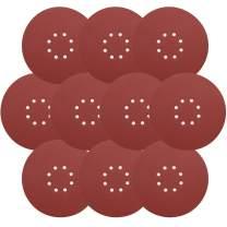 9 Inch Sandpaper, GOH DODD Hook & Loop 8-Hole Sander Sheets 100 Grits Grinding Abrasive Sanding Disc for Wood Furniture Drywall Finishing, Metal Sanding and Mirror Jewelry Car Polishing, 10 Pack