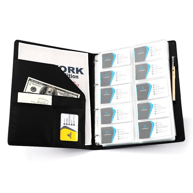 AHGXG Business Card Book Holder, Leather Organizer Binder with Folder Pen Holder, Name Card Organizer Credit Card Holder, 600 Cards, Black