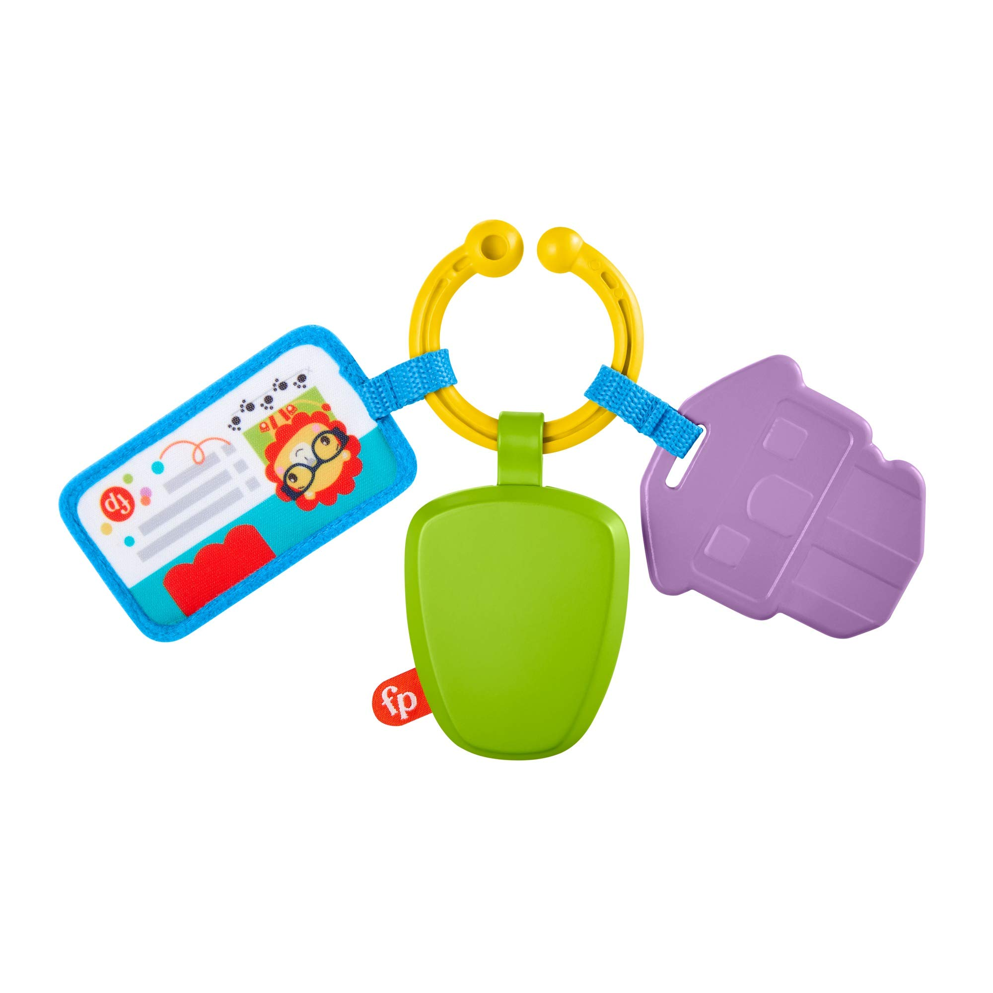 Fisher-Price Hit The Road Activity Keys, Take-Along Baby Rattle & Teething Toy with Mirror