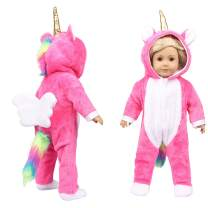 Fairy Wings Cute 18 inch Doll Clothes Unicorn Doll Costume Onesie Pajamas Suitable for 45.72cm American Girl Doll (Rose RED)