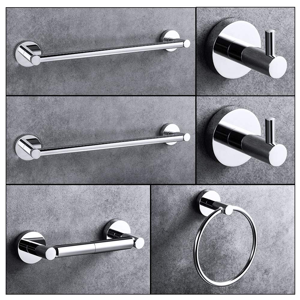 """LUCKUP 6 Piece Bathroom Accessory Set, Towel Bar Accessory Set, Includes 2 x 24""""Towel Bar, 2 x Robe Hook, 6.6""""Towel Ring, and 7""""Toilet Paper Holder, 304 Stainless Steel Wall Mounted,Polished Chrome …"""