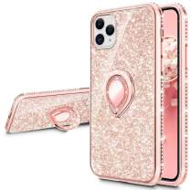 VEGO Compatible for iPhone 11 Pro Max Case with Ring Holder, Glitter Bling Case for Girls Women Sparkly Pretty Fancy Cute Fashion Rhinestone with Kickstand Holder Stand Case 6.5 inch(Rose Gold)
