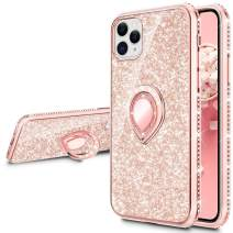 VEGO Compatible for iPhone 11 Pro Case with Ring Holder, Glitter Bling Case for Girls Women Sparkly Pretty Fancy Cute Fashion Rhinestone with Kickstand Holder Stand Case 5.8 inch(Rose Gold)