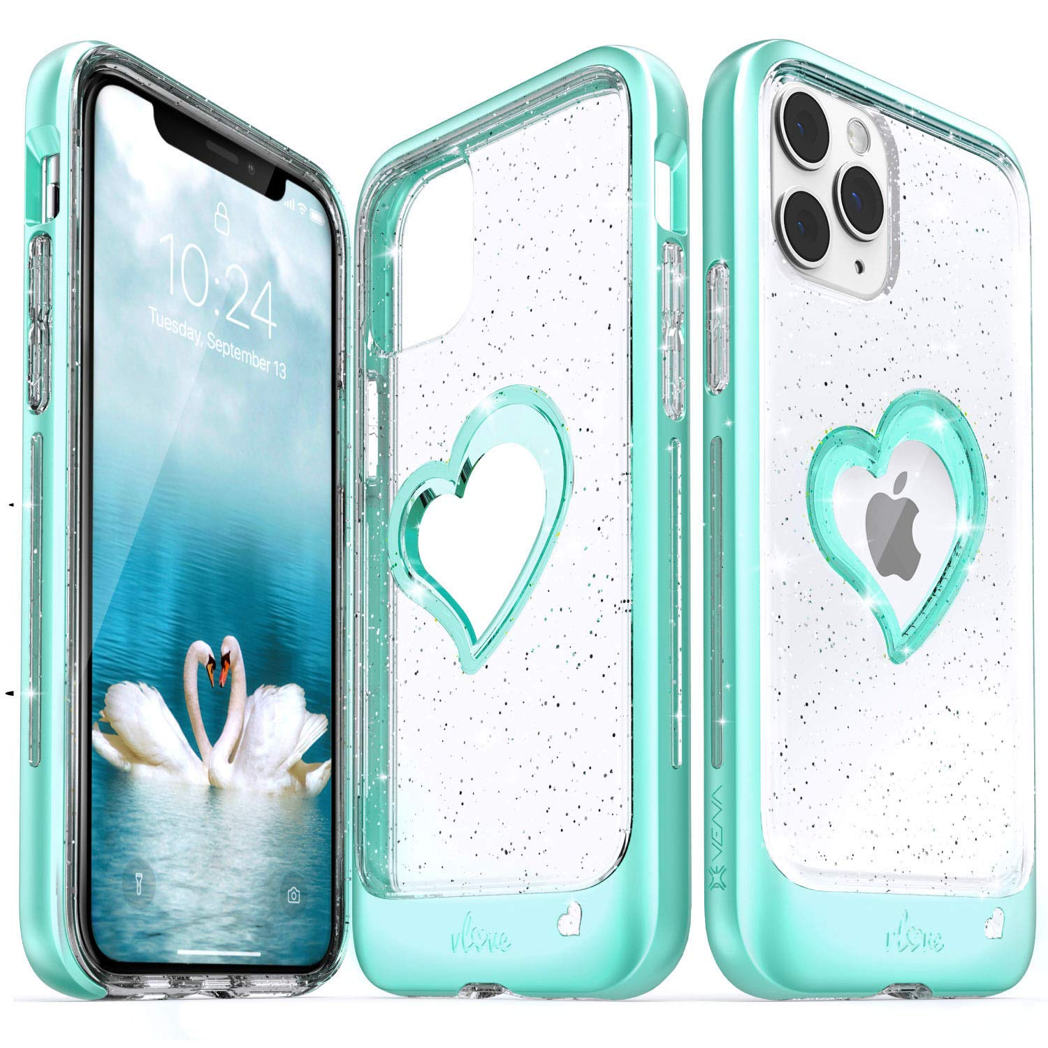 Vena iPhone 11 Pro Glitter Case, vLove Glitter Heart Case Slim Dual Layer Protection, Designed for iPhone 11 Pro (5.8 inches) - Teal (PC) and Clear TPU with Glitter