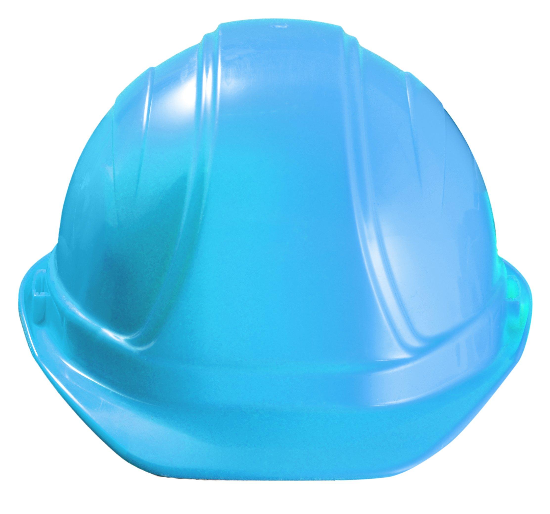 Occunomix V100-02 Regular Brim Hard Hat with Squeeze Lock Suspension, Blue