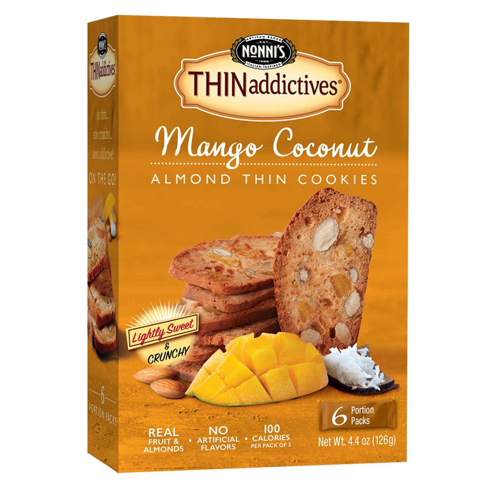 Nonni's THINaddictives, Thin Cookies, Mango Coconut Almond, 6 Count, 4.4 Ounce
