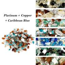 Skyflame 10-Pound Blended Fire Glass for Fire Pit Fireplace Landscaping, 1/4 Inch Caribbean Blue, Platinum, Copper, Reflective