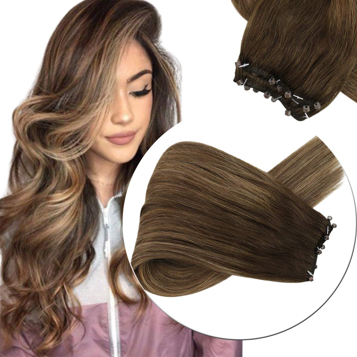 Sunny 20inch Micro Bead Weft Hair Extensions Brown Color #4 Dark Brown Fading to #27 Caramel Blonde Mixed #4 Brown EZ Hair Weft with Micro Beads 12inches Width 50g Weight