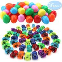 nicknack Easter Eggs with Toys inside 36PCS Filled with Mini Pull Back Cars for Kids Party Favors Toys Easter Egg Hunt