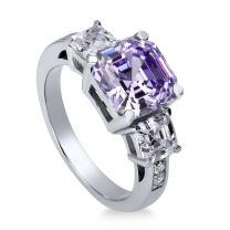 BERRICLE Rhodium Plated Sterling Silver Purple Asscher Cut Cubic Zirconia CZ Statement 3-Stone Anniversary Wedding Engagement Ring 5.6 CTW