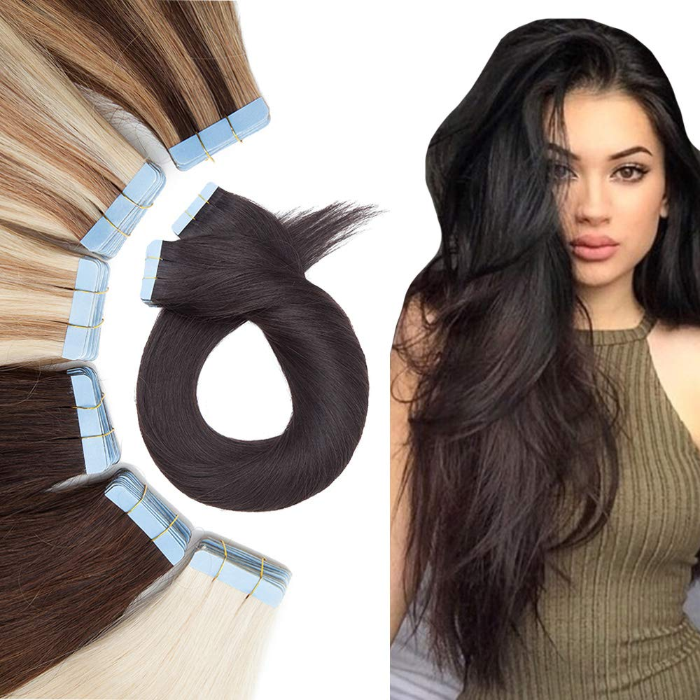Tape In Real Human hair Extension Glue In Skin Weft Hair Extensions Rooted Tape in Remy Hair Seamless Invisible Double Sided Tape Human Hair Extensions For Women 20 inch 50g 20pcs #1B Natural Black