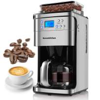 12-Cup Coffee Maker, Programmable Coffee Machine with Burr Conical Grinder, LED Display Screen, Automatic Start and Shut Off, Grinding Strength Control, 50 Oz Capacity Coffee maker Carafe