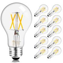 Mastery Mart Dimmable Vintage LED Light Bulb, A19 Glass Antique Edison Style, 5W (Equivalent to 40 Watt), 450LM 4000K Cool White, E26 Base Decorative Filament Bulb, UL and Energy Star, 10 Pack