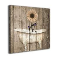 Colla Canvas Print Brown Purple Rustic Sunflower Butterflies Bathtub Vintage Wall Art Contemporary Decorative Picture Paintings Wall Decor for Bathroom Living Room Framed Ready to Hang 16x16 Inches