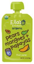 Ella's Kitchen Organic 6+ Months Baby Food, Pears Mangoes and Papayas, 3.5 oz. Pouch (Pack of 6)