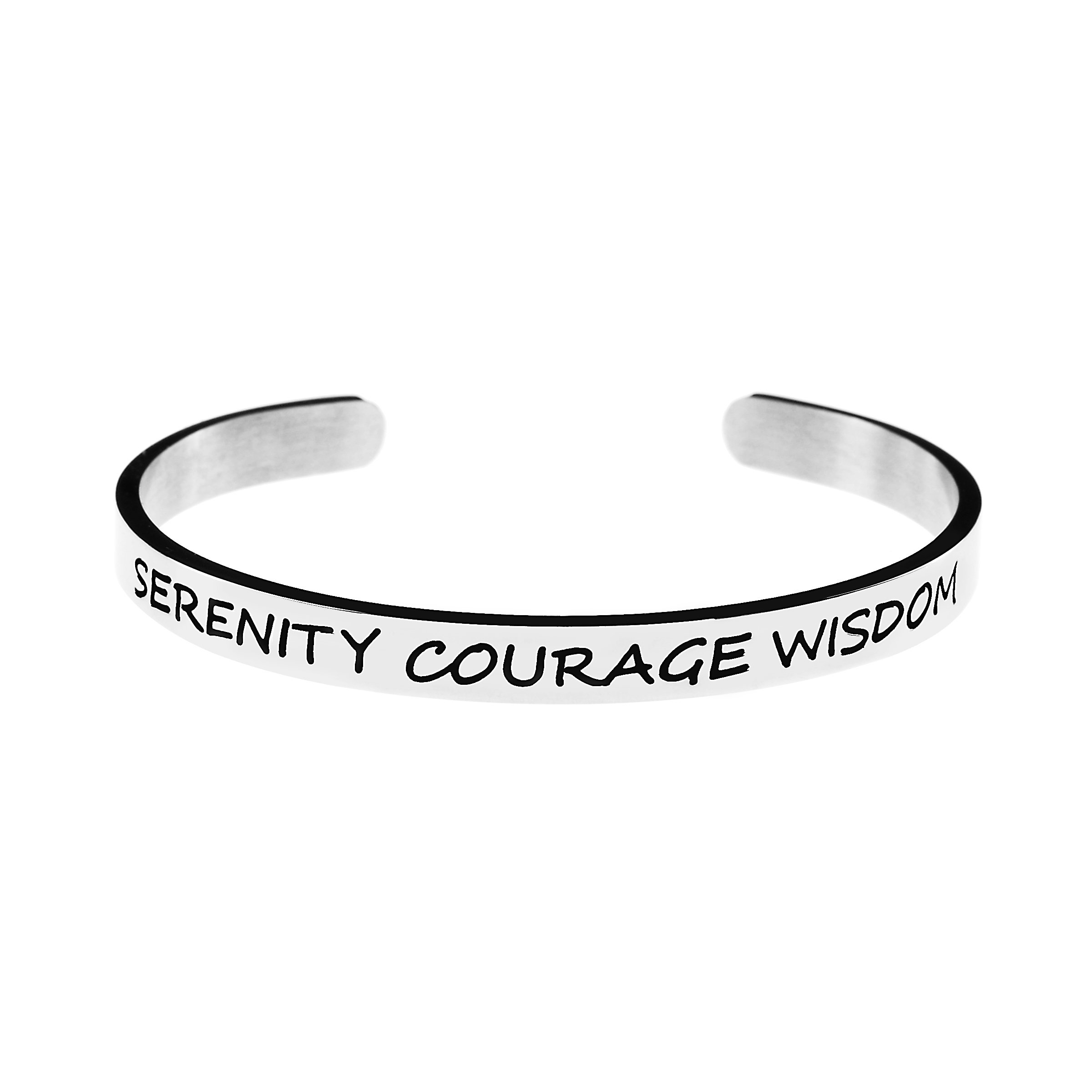 Joycuff Motivational Bracelet for Women Cuff Bangle Stainless Steel Open Engraved Inspirational Jewelry