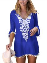 Malaven Women's Pom Pom Trim Tassel Lace Crochet Swimwear Beach Cover up