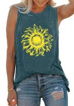 BLANCHES Sunflower Tank Tops Womens Funny Graphic Camisole Vest Sleeveless Workout Shirt Summer Tee Tops