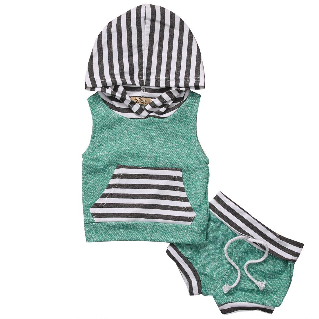 Newborn Baby Boys Girls Clothes Set 2 Pieces Stripe Vest Hoodie+Short Pants