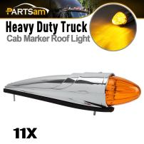 Partsam 11x Amber Cab Marker Light 17LED Torpedo Cab Light Heavy Duty Truck LED Top Roof Running Lights with Chrome Base Compatible with Kenworth/Peterbilt/Freightliner Trailer Semi Trucks