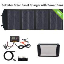 ECO-WORTHY 120W Foldable Portable Solar Panel Charger with 52000mAh Lightweight Power Bank External Battery Charger