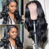 Lace Front Human Hair Wigs Pre Plucked Hairline Bleached Knots 150% Density Brazilian Body Wave Lace Front Wigs Natural Color 18 inch