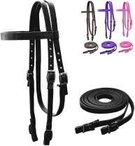 Tahoe Tack Plain Double Layer Nylon Headstall with Reins, Multiple Colors & Sizes Available