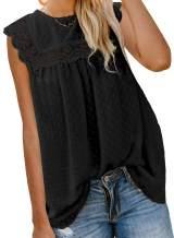 Sidefeel Womens Round Neck Short Sleeve Blouse Chiffon Swiss Dot Shirt Tops