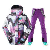 Women Ski Jacket Pants Snowboarding Windproof for Winter Sports