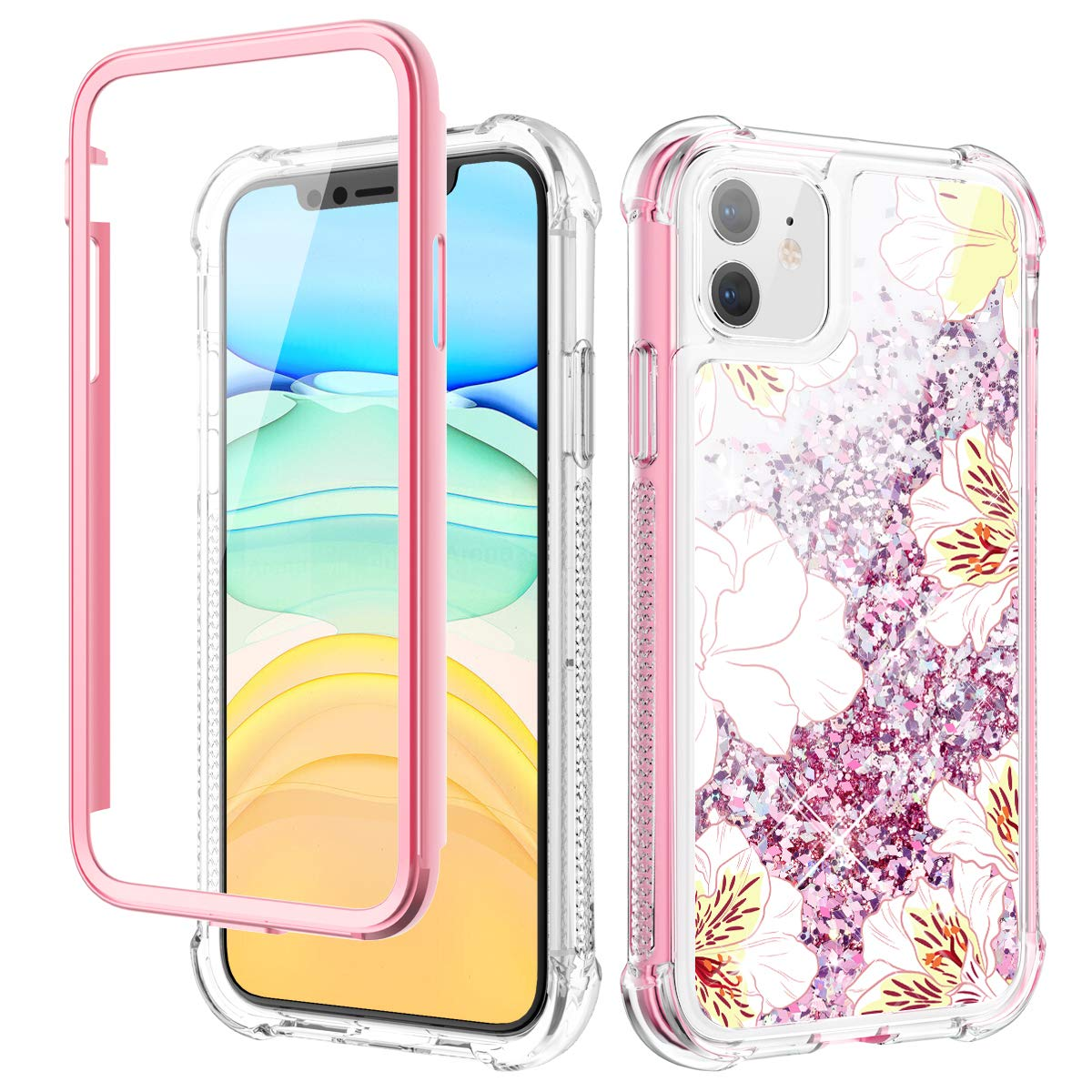 Caka Case for iPhone 11 Case Glitter Liquid Flower Full Body Protection with Built in Screen Protector for Girls Women Girly Floral Bling Protective Case for iPhone 11 6.1 (Yellow White)