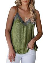 Sidefeel Women V Neck Lace Strappy Floral Print Tank Top Sleeveless Blouse