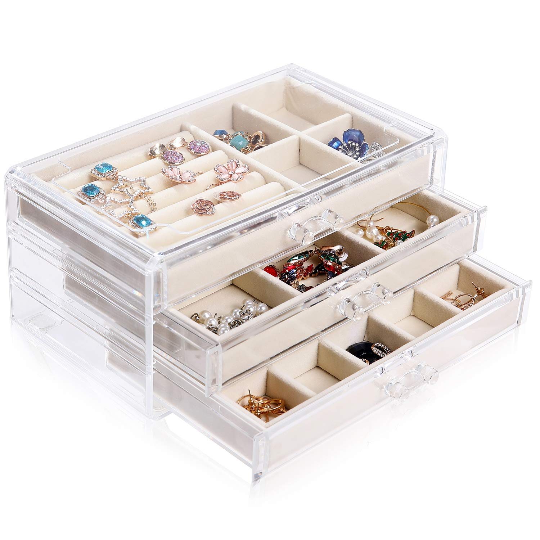 misaya Women Jewelry Box Organizer 3 Drawers Acrylic Jewelry Display Case for Earrings Rings Bracelets Necklaces, Beige White