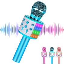 Wireless Kids Karaoke Microphone, Gifts for 7 8 9 Year Old Young Girls,Hot Girl Toys Age 4-16,Top Birthday Presents for 5 6 Year Old Teens Blue